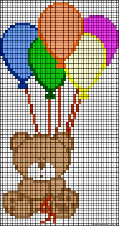 Teddy with ballons perler bead pattern