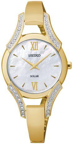 Seiko Women's Solar Gold-Tone Stainless Steel Bangle Bracelet Watch 30mm SUP216