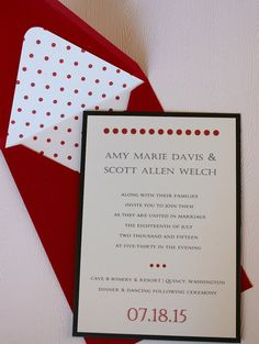 This modern and fun 5x7 invitation set will make a statement with guests. They are created with 92# white perle finish cardstock (has a great