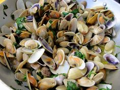"""Conquilhas"" (shellfish) with olive oil, garlic and coriander - Portugal"