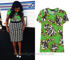 Mindy shared another print mixing masterpiece with us on Instagram and now neon green floral and houndstooth look like they're made for each other. Jonathan Saunders Tulip Print T-Shirt - $156 (was $325)