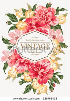 Vintage greeting card with colorful flowers. Vector illustration.  - stock vector