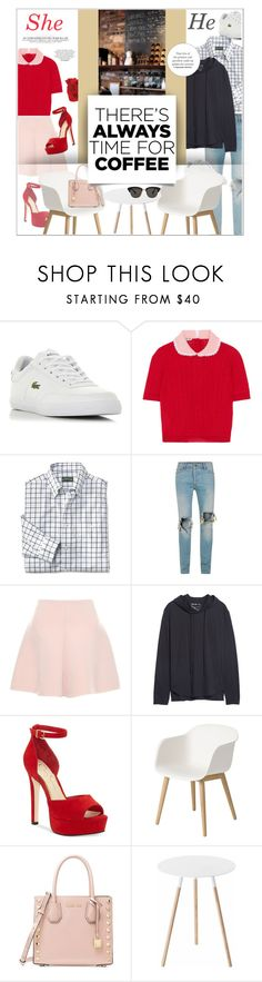 """""""Coffee shop date."""" by zeljkaa ❤ liked on Polyvore featuring Lacoste, Miu Miu, Topman, RED Valentino, Public Opinion, Jessica Simpson, Muuto, Michael Kors, Yamazaki and Gentle Monster"""