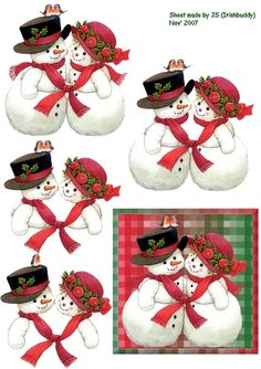 snowman and even Christmas Decoupage, Christmas Card Crafts, 3d Christmas, Christmas Clipart, Christmas Printables, Christmas Pictures, All Things Christmas, Holiday Crafts, 3d Cards