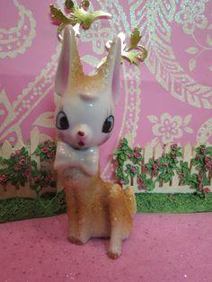 Vintage Christmas Fawn Deer Reindeer W Bow Tie Champagne Salt Glazed Fur JAPAN