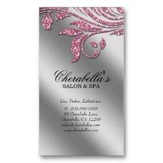 50% OFF BUSINESS CARDS!!  Hurry sale ends 8pm PST!!  Use code RUSHBIZCARDS :: Salon Business Card Elegant Pink Silver Sparkle Le