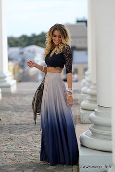 Full Maxi Skirt Fitted Crop Top ...now go forth and share that BOW DIAMOND style ppl! Lol. :-) xx