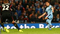 Manchester City 3-1 Liverpool on August 25th. 2014: Sergio Aguerro scores. - #Manchester City Quiz  - #MCFC