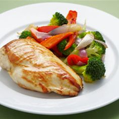 Try this Roast Chicken Breast with Roast Vegetables and Blanched Broccoli recipe by Chef Emma Sutherland. This recipe is from the show Eat Yourself Sexy Australia.