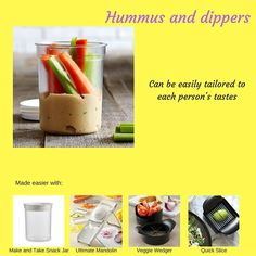 Why buyHummus and not know what is actually in it. Make your own! www.pamperedchef.biz/gpearl #pamperedchef #pamperedsocials #healthysnack #deliciousveggies #familyhealth #veggiestripmaker #manualfoodprocessor #pineapplewedger #quickslice