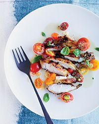 Grilled Chicken with Asian Marinated Tomatoes  Recipe