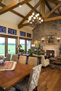 Great Room of Hillside Rancher. House Plan No.280085, love the room and the beams in the ceiling....house plan not for me, ranch