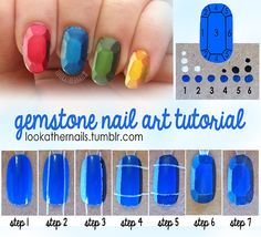 lookathernails:  I made a tutorial for all of you on how to do thesegemstone/rupee nails! The concept was originally inspired by a wood block painting tutorial done by Fabric Paper Glue, but I just loved the illusion and look of it so much that I wanted to adapt it to nail art! This tutorial requires only three colors: Your basic color, black, and white. You will be mixing these colors to create the 6 shades needed to complete the look. In the top right corner, you can see that I've ...