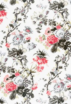 Fabric   Elizabeth in Rouge / Grey   Schumacher