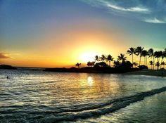 Sun coming down in Aulani Disney Resort, Oahu, Hawaii.