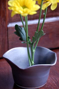 Vase Ikebana Style Bud Vase in Bronze with Flower Petal Rim by moonstarpottery on Etsy