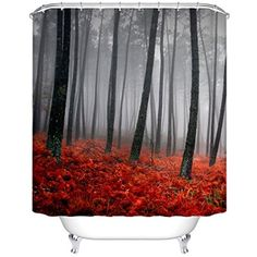 Extra Long Shower Curtain, Goodbath Farmhouse Mystic Forest Shower Curtains Set with Hooks for Bathroom Decor, 72 x 78 Inch, Multicolo -- Read more reviews of the product by visiting the link on the image. (This is an affiliate link) #Bath