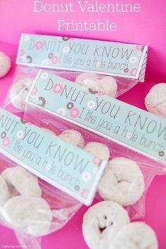 DIY donut Valentine treat topper printable