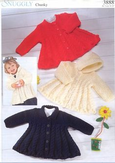 Baby Toddler & Child's Hooded Coat and Collared Coat CHUNKY 12 ply for 0 m - 6 Years - PDF of a Vintage Knitting pattern - Baby Pullover, Baby Cardigan, Coat Patterns, Baby Patterns, Vintage Patterns, Brei Baby, Chunky Knitting Patterns, Baby Coat, Swing Coats