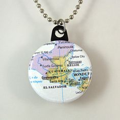Central America Map Necklace by XOHandworks $4.50