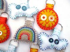 felt keychains - cute idea - whipstitch - Village View Arts and Crafts - Visual Arts