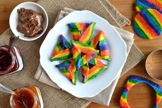 Foods at Purim. Purim at Home. Purim, A Holiday of Reversals. Featured Articles on Purim. Mishloach Manos, Purim Recipe, Food Porn, Rainbow Food, Jewish Recipes, Chocolate Hazelnut, Holiday Recipes, Holiday Foods, Holiday Ideas