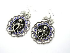 Boucle d'oreilles steampunk octopus argenté, bleu et noir