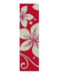 White Flowers Peyote Pattern -red and white peyote cuff pattern (Buy 2 patterns, Get 1 Free). $3.50, via Etsy.