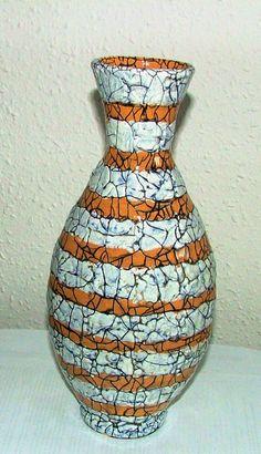 Mid size vase with orange and white stripes Pottery Art, Hungary, Ceramic Art, Art Deco, Mid Century, Stripes, Ceramics, Orange, Artwork
