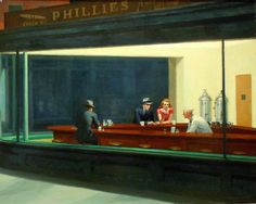 Nighthawks, a piece by Edward Hopper, depicts the loneliness of life in a city. The Nighthawks painting illustrates Hopper's personal approach to art. American Gods, American Art, American Realism, Illustrations Poster, Illustration Art, Edward Hopper Paintings, David Hockney, Expositions, Twin Peaks