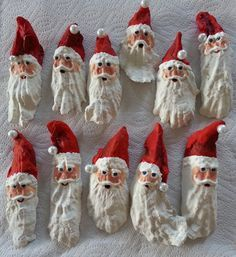 Santa Clause Oyster Shell Christmas Tree by WoodenWaterLLC on Etsy