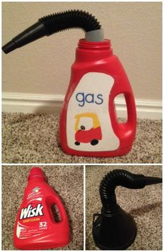 Every car need some gas! Upcycle a Wisk Bottle and make a DIY Cozy Coupe Gas Can. - Every car need some gas! Upcycle a Wisk Bottle and make a DIY Cozy Coupe Gas Can and Little Tikes a - Projects For Kids, Diy For Kids, Crafts For Kids, Diy Toys For Babies, Diy Kid Toys, Diy Preschool Toys, Kids Toys For Boys, Toy Diy, Diy Projects