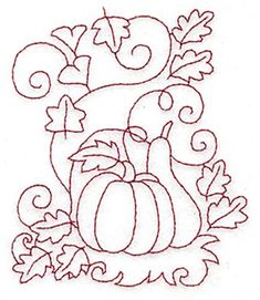 Seasons Embroidery Design: Pumpkin and Gourd Redwork from Adorable Ideas