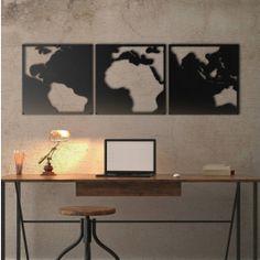 Metalen Wereldkaart in zwart contrast. Een hele mooie toevoeging aan uw decor.