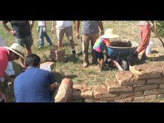 building adobe wall - video