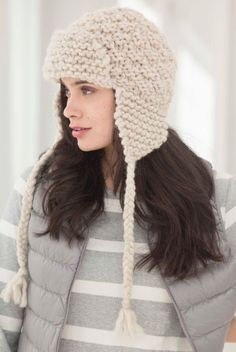 Ravelry: Amelia Earflap Hat pattern by Lion Brand Yarn - free knitting pattern - Loom Hats, Loom Knit Hat, Knitted Hats, Loom Knitting Patterns, Free Knitting, Crochet Patterns, Knit Or Crochet, Crochet Hats, Crochet Hat Earflap
