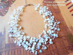 Opalite Multistrand Halskette Glas Rocailles Perlen roh Mondstein schwimmende häkeln unsichtbaren Kette Statement Luft heilende Kristall Stein