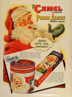 Vintage Christmas Magazine Ad ~ Camel Cigarettes & Prince Albert Tobacco