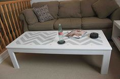 going to do this on one of the 2 coffee table i have stashed in my carport! Chevron Coffee Tables, 2 Coffee Tables, Chevron Table, Upcycled Furniture, Painted Furniture, Coffee Table Makeover, Craft Tutorials, Home Projects, Sweet Home
