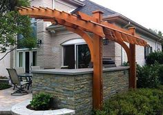 The cantilevered pergola, while maintaining an open feeling, provides a sense of intimacy and privacy where it was needed. Description from trellisstructures.com. I searched for this on bing.com/images