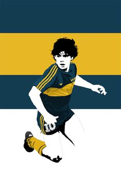 A quick illustration of Diego Maradona during his Boca Junior days, it's the one kit I instantly think of whenever his name is mentioned. Retro Football, Football Design, Football Art, Adidas Football, Vintage Football, Legends Football, Soccer World, World Football, Good Soccer Players