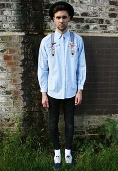 Unisex Retro Vintage Long Sleeved Braces Quirky Denim Shirt  £34.99