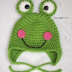 Repeat Crafter Me: Free Crochet Frog Hat Pattern Crochet Animal Hats, Crochet Kids Hats, All Free Crochet, Crochet Beanie, Cute Crochet, Crochet Crafts, Crochet Projects, Knit Crochet, Double Crochet