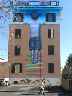 Seth street art sky in Rome Italy Roma, Italia Miami, Florida, dicembre 2013 (©Julien Seth)