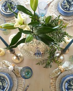 A blue and white Fall table compliments of Goodwill! The mercury glass globe vase is from Anthropologie, the blue candles, World Market, the goblets, Horchow. #avana_design #Falldecorating #tablescape #diningroominspo #anthropologie #goodwill_SC #horchow #interiordesign #homedecorating #decoratingideas