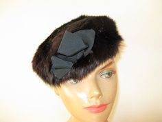 1950's-60's Black Rabbit Fur Beret with by TheInstantMemory