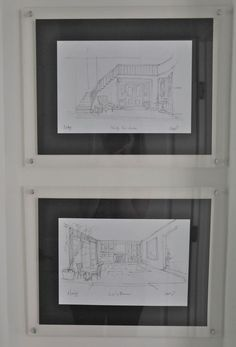 Drawings with black matte in lucite frames - Giannetti Home