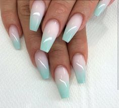 30 Ombre Nails Designs for Inspiration! 30 Ombre Nails Designs for Inspiration! Ombre Nail Designs, Cool Nail Designs, Acrylic Nail Designs, Mint Nails, Gel Nails, Coffin Nails, Mint Acrylic Nails, Mint Green Nails, Nail Polish