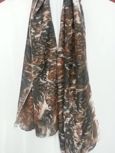 Abstract Animal Print Hand Painted Silk Scarf, 22x72 Silk Scarf, Abstract Natural Tree Bark Black White and Brown Silk Scarf, Gifts for Her