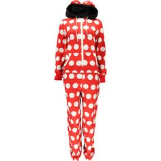 Boohoo Nicola Polka Dot Large Bow Mouse Animal Onesie ($65) ❤ liked on Polyvore featuring intimates, sleepwear, pajamas, onesie, pijamas, pyjamas, one piece, polka dot sleepwear, animal pajamas and pjs